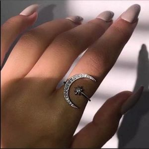 Silver Moon and Sun Ring
